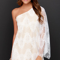 Lash Request One Shoulder Beige and Ivory Lace Dress