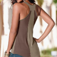 New summer sexy Women U neck chiffon vest-0523
