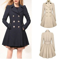 New Fashion Women Double-breasted Slim Fit Long Outwear Trench Coat
