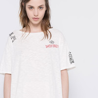 SHORT SLEEVED EMBROIDERED T-SHIRT - TROPICALISM - WOMAN - PULL&BEAR United Kingdom