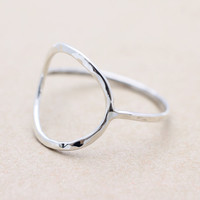 925 sterling silver hammered open circle ring