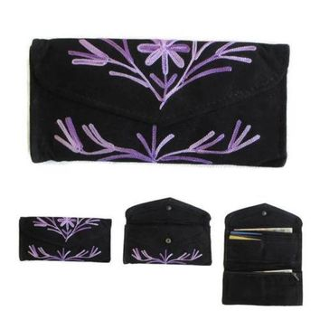 Women Black Envelope Leather Wallet With Card Holder Embroidered Purse HANDMADE
