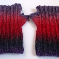 Adult hand knitted fully reversible wrist warmers.Purple and pink.