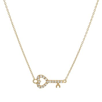 Gold Over Sterling Silver CZ Sideways Heart Key Necklace