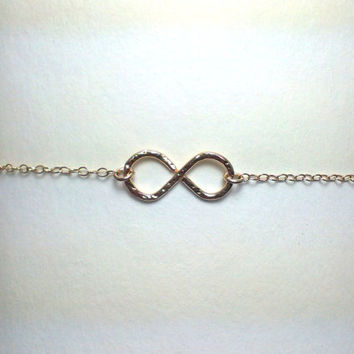 Gold infinity anklet, 14kt filled gold, ankle bracelet, infinity anklet, hammered infinity, handmade infinity, pool party, beach party