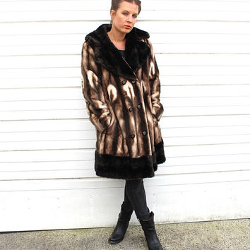 SALE// Vintage  Faux Fur Marbled Print Coat - 70s Double Breasted Vegan Faux Fur Coat - 70s Boho Disco Faux Fur Princess Coat