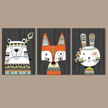WOODLAND Wall Art, CANVAS or Prints Woodland Nursery Artwork, BEAR Fox Bunny Rabbit, Wood Forest Animals, Forest Friends Set of 3 Baby Decor