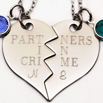 Partners In Crime Necklace Set |Personalized Engraved Gift For Best Friend | Custom Birthstone Best Friend Gift | Best Bitches Jewelry