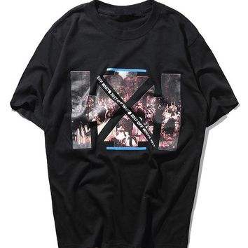 Off White Print Short Sleeve T-shirts [424529821732]