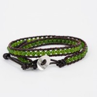 Green Agate Round Beads Double Wrap Bracelet : OrHere
