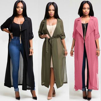 Summer Fashion Women Long Sleeve Lapel Chiffon Cardigan Blouse Shirt Long Jacket Beach Cover Up Sexy See-Through YF180