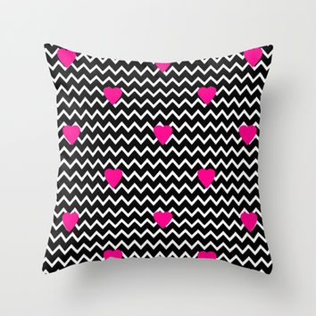 Black Chevron with Hot Pink Hearts Throw Pillow by decampstudios
