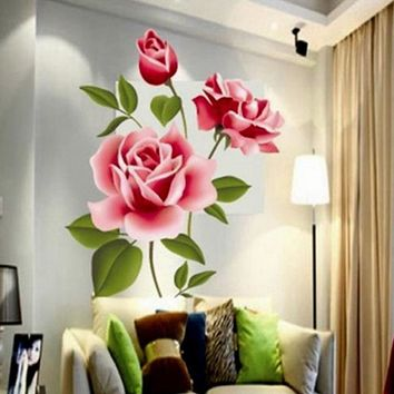 Romantic Rose Love 3d Wall Stickers Home Living Room Bedroom Kitchen Flower Shop Decals Mother's Day Gifts Pvc Mural Art Poster
