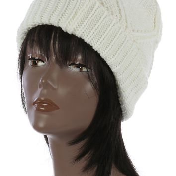 Diamond Pattern Knit Winter Beanie Hat And Cap 70