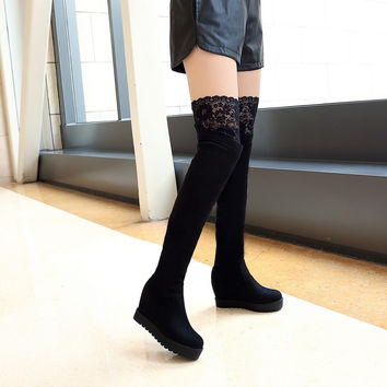 Lace Knee High Boots Wedges Shoes Fur Inside 2832