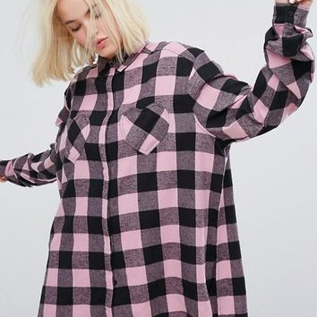 Lazy Oaf Oversized Shirt With Heart Pockets In Check Flannel at asos.com