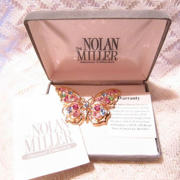 Nolan Miller Glamour Collection Crystal Opulence Butterfly Brooch