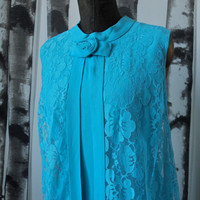 Vintage Shift/Tent Dress 1960's/70's Turquoise Sleeveless with Lace Overlay size Large