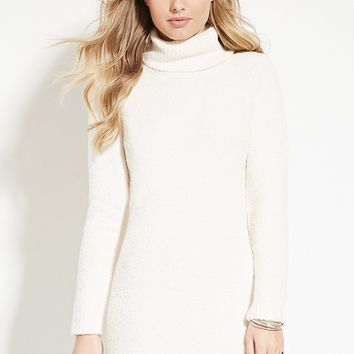 Fuzzy Turtleneck Sweater Dress