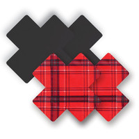 Nippies® Save The Queen Red & Black Plaid Cross Pasties Save The Queen Cross Pasties Red A-DD