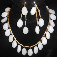 Opaque Molded White Glass Dangle Necklace & Clip Back Dangle Earrings Signed Joy