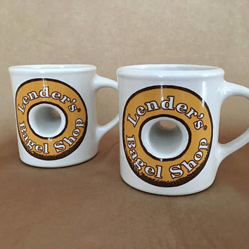 Bagel Mug, Lenders Bagel Shop, Vintage NY kitsch, Pair of Bagel Mugs, Coffee Cup, Bagel Shaped Mug, Bagel Graphic Mug, New York, Office Gift