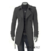 Slim Fit Double Breasted Long Wool Coat with Belt