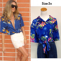Courtenay Blue Hawaiian Shirt  (size 3X) (V)