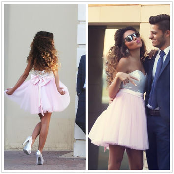 HOT BOW SHINING SEQUINS SHINING STRAPLESS DRESS
