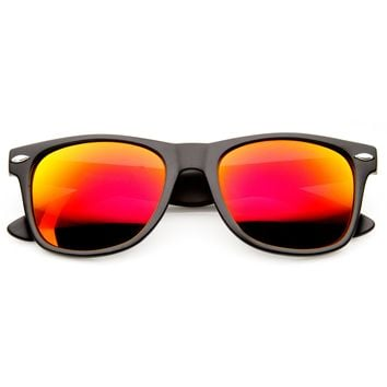 Flat Matte Black Mirrored Polarized Lens Horned Rim Sunglasses 8030