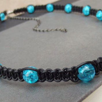 Ocean Blue Glass Necklace:  Black Leather Unisex Adjustable Choker Necklace, Macrame Cord Hipster Jewelry, Gift for Him, Gift for Her