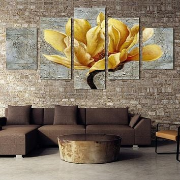 5 Panel Pictures Canvas Painting Gold Orchid Flower Painting Wall Art Decorative Canvas Wall Art Modular Picture(Unframed)