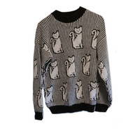 Vintage Cat Sweater Black and white Stripes & Cats