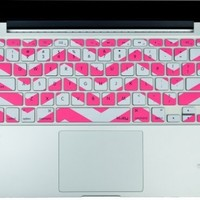 """Kuzy - Pink Chevron Zig-Zag Keyboard Cover for MacBook Pro 13"""" 15"""" 17"""" Aluminum Unibody (fits MacBook with or w/out Retina Display) iMac and MacBook Air 13"""" Silicone Skin - Pink:Amazon:Computers & Accessories"""