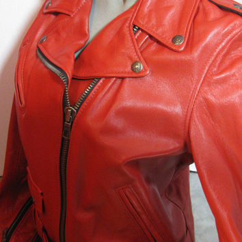 Schott NYC SPERW  Perfecto Lambskin Women Leather moto Jacket RED SIZE MED NWT