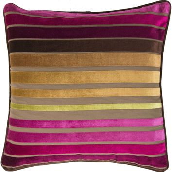 Velvet Stripe Throw Pillow Pink, Brown