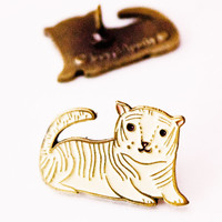 White Tiger Enamel Pin / Brass Lapel Pin by boygirlparty
