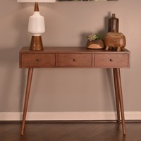 Decor Therapy Mid Century 3 Drawer Wood Console Table | Hayneedle