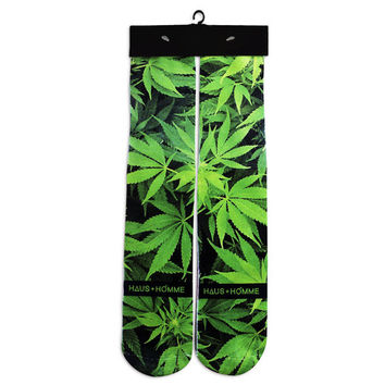 Weed Leaves Marijuana Leafs All Over Print Custom Printed High Long Cotton Socks