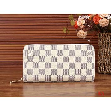 LV Women Shopping Leather Print Wallet Purse White I-LLBPFSH