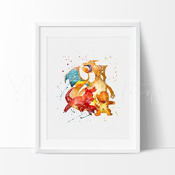 Charmander, Charmeleon & Charizard, Pokemon Go Evolution Watercolor Art Print