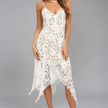 One Wish White Lace Midi Dress