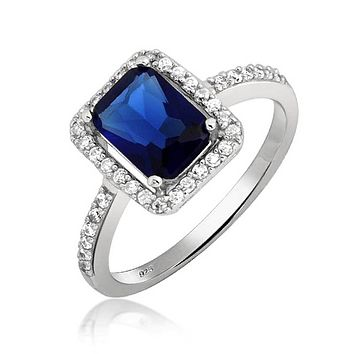 3CT CZ Blue Simulated Sapphire Emerald Cut Engagement Ring 925 Silver