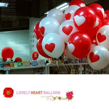 20pcs Thicken Latex Balloons Party Festival Wedding Decorations  Large Valentine Printed Heart (Color: Multicolor) = 1933017604