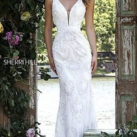 Long Sleeveless Sherri Hill Dress with Sequin and Bead Embellishments