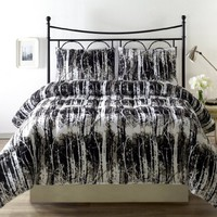 Silhuett Down Alternative 3-Piece Reversible Comforter Set, Queen, Black/White/Tan