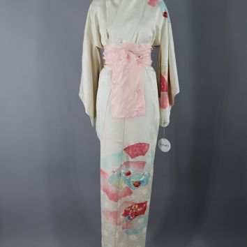 Vintage Silk Kimono Robe / Ivory Pink and Blue Floral Fans