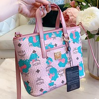 MCM New fashion more letter camouflage print leather shoulder bag handbag crossbody bag Pink