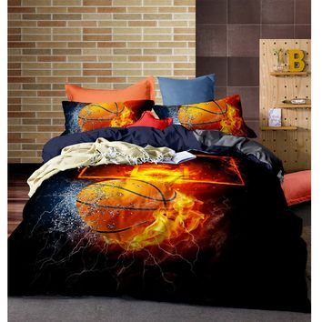 2/3pcs 3D Duvet Cover Bedding Set  Bed Quilt Cover Clothes Pillowcase Kids Bedroom Twin Full Queen King Size Basketball