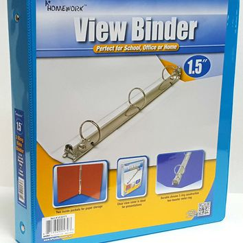 "1.5"" Clear View Pocket Binder - Cyan - CASE OF 12"